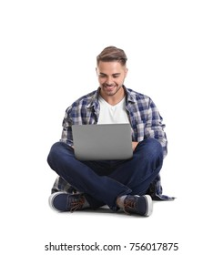 Young man with laptop, isolated on white