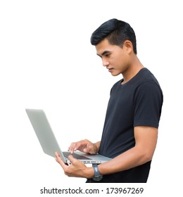 Young man with a laptop - isolated over a white background