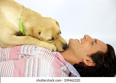 Young man laughing while his labrador dog kisses him