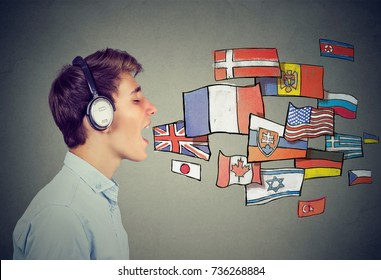 Young man learning different languages