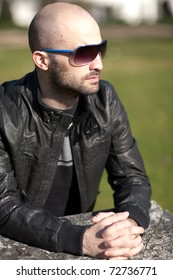 Young man with a leather jacket
