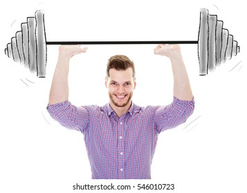 Young man lifting dumbbell isolated on white stock photo, Motivation concept