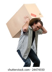 A young man lifting a large heavy box, isolated against a white background