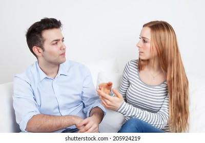 Young man listen to his girlfriend