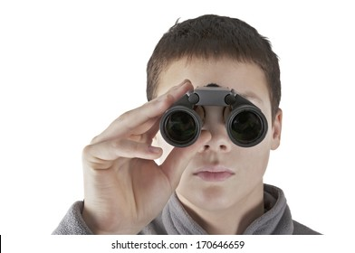 Young man looking through binocular with clipping path