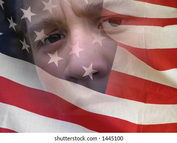 The young man looks through the American flag