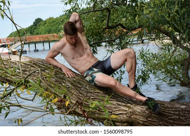 Young man lying outdoor on a tree branch