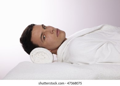 Young Man Lying in the Spa