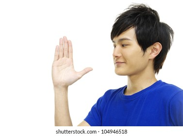 young man making stop with his hand