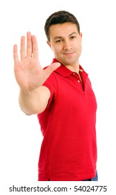 young man making stop with his hand on white background