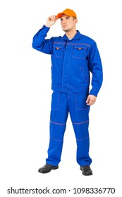 young man  mechanic in blue uniform. Male full lenght portrait caucasian character isolated on white background. orange cap