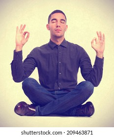 young man meditationg gesture