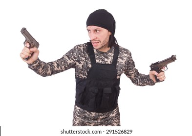 Young man in military uniform holding gun isolated on white