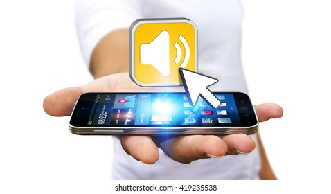 Young man with modern mobile phone in his hand using modern music application '3D illustration'