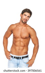 Young man with muscular naked torso. Isolated on white background.