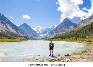 Young man in nature in the mountains, natural photos