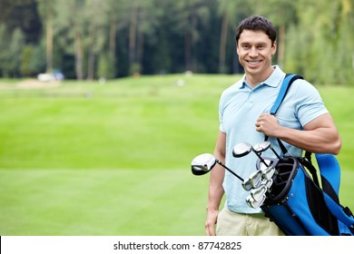 A young man on the golf course