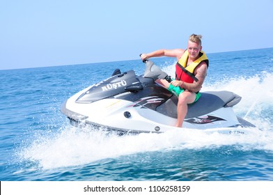 Young Man on Jet Ski, Tropical Ocean, Vacation Concept in the sea On 03 June, 2018 In Antalya Turkey