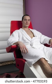 Young Man on Pedicure Chair