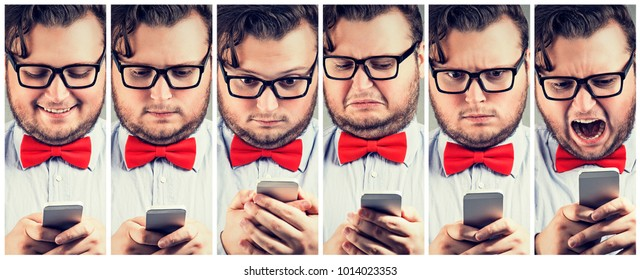 Young man with overweight watching smartphone and showing whole range of emotions.