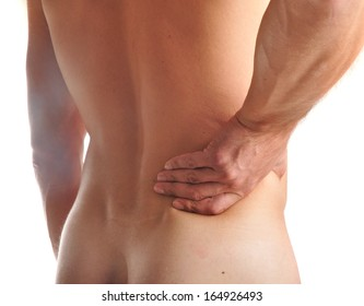 Young man with pain in a waist