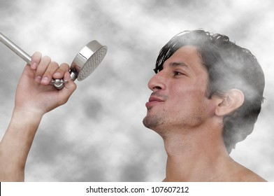 Young man performing a concert by singing in the shower