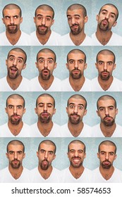 Young Man Performing Various Expressions with his Face