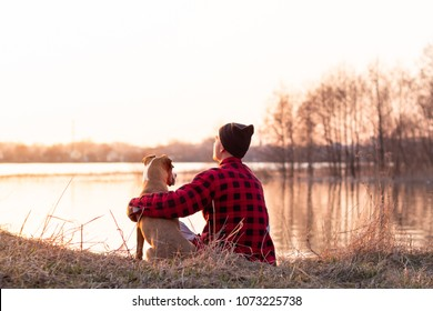 Young man and pet dog sit by lake at sunset in spring or autumn. Male person and staffordshire terrier puppy enjoy golden hour at dawn of a bright sunny day near river