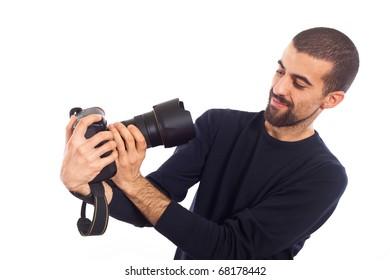 Young Man Photographer Taking Photos