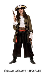 Young man in a pirate costume with pistols