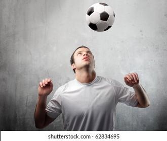 Young man playing football