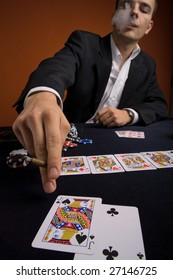 a young man playing poker