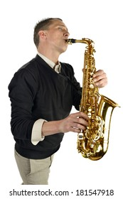 young man playing the saxophone on white background