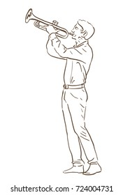 young man playing trumpet hand drawn illustration. line sketch raster