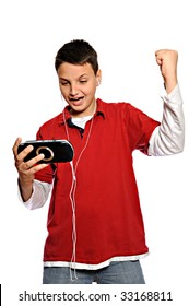 Young man playing videogames