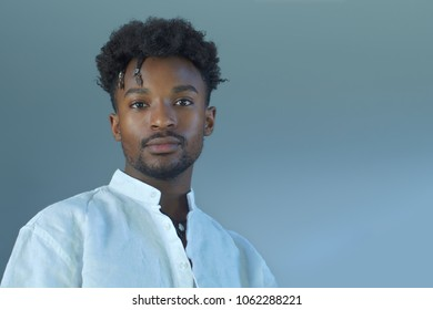 young man portrait gray background studio hansome person