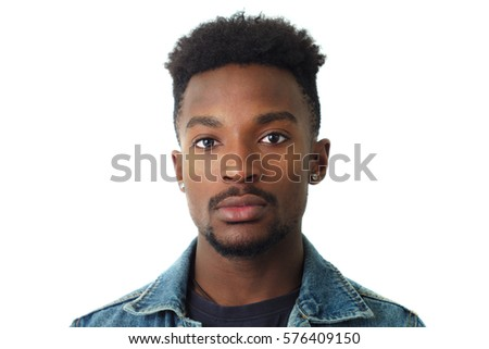 young man portrait twenty years old jeans jacket studio