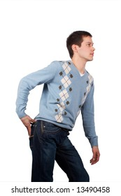 Young man posing with hand on buttock