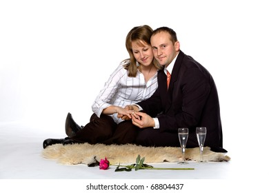 young man and pretty girl, on white background