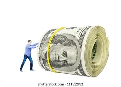young man pushing money