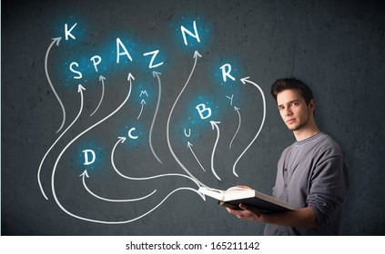 Young man reading a book while multiple choices are coming out of the book