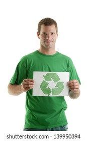 Young man with recycling symbol