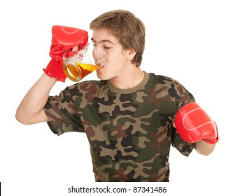 young man in red boxing gloves with beer, white background