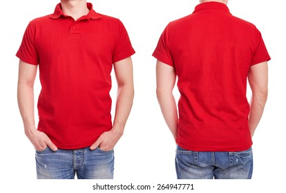 Young man with red polo shirt on a white background