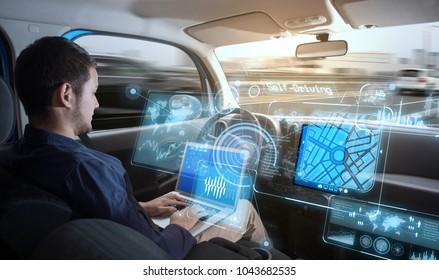 Young man riding autonomous car.