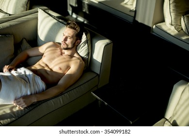 Young man in the room at morning