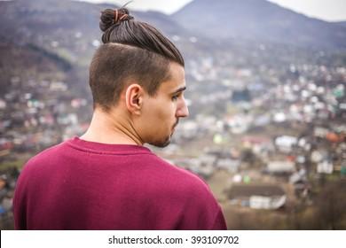 Young Man with Samurai Haircut