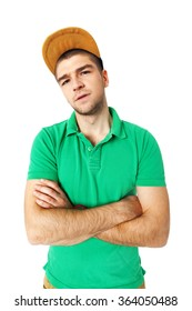 Young man saw something disgusting - isolated on white background.
