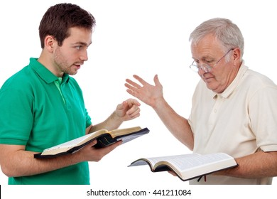 Young man sharing God's Words with an old man