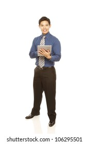 Young man in shirt and tie using a tablet computer (isolated on white)